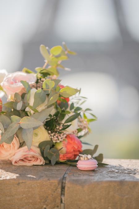 Eiffel Tower Paris wedding rings flowers macaron