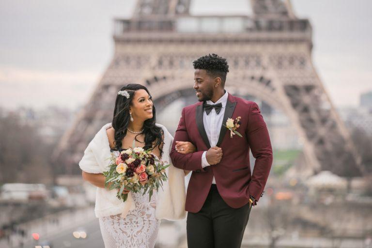 Eiffel Tower elopement photoshoot trocadero