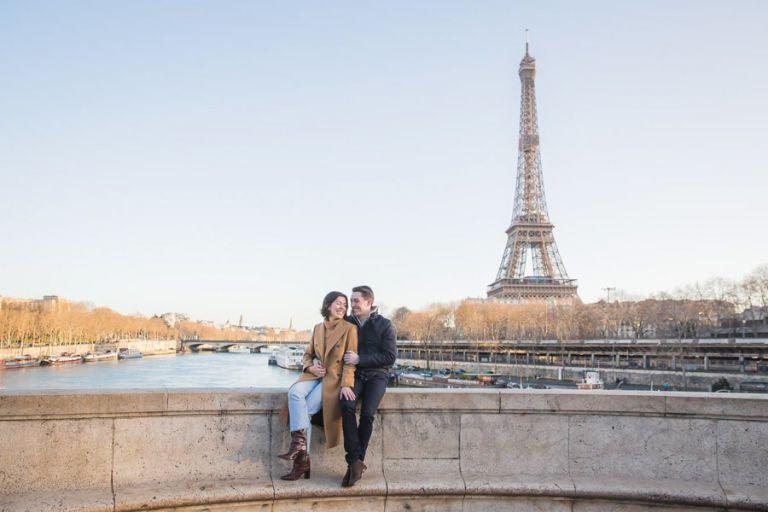 Paris winter engagement photo session eiffel tower